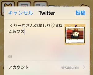 【ねこあつめ】ねこさんのアルバム写真をTwitterに投稿する新機能追加