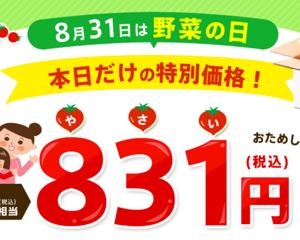 8月31日、野菜の日限定。Oisix(おいしっくす)のお試しセットが送料無料で831円に!