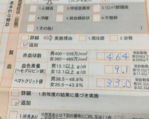 血液検査をしたらヘモグロビン値9.1で貧血と言われました