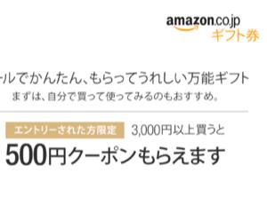 Amazonギフト券を3000円以上買うと500円クーポンがもらえるキャンペーン(2015/12/18〜2016/1/31)