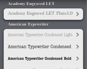 iPhone/iPadで使えるフォントを一覧表示+自由なテキストで試せる無料iPhoneアプリ「Typefaces」