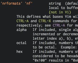 Vimで数を増減するときに10進数として扱うには vimrc に set nrformats= を追加する