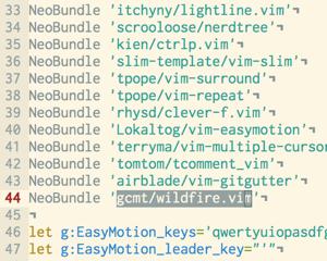 Enterキーを押すだけで近くのテキストオブジェクトを選択してくれる「wildfire.vim」